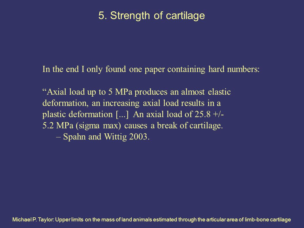 Michael P. Taylor: Upper limits on the mass of land animals estimated through the articular area of limb-bone cartilage 5. Strength of cartilage In th