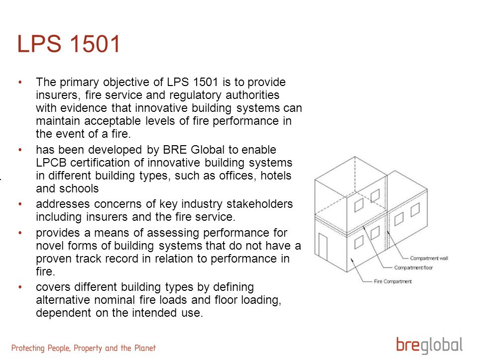 LPS 1501 The primary objective of LPS 1501 is to provide insurers, fire service and regulatory authorities with evidence that innovative building syst