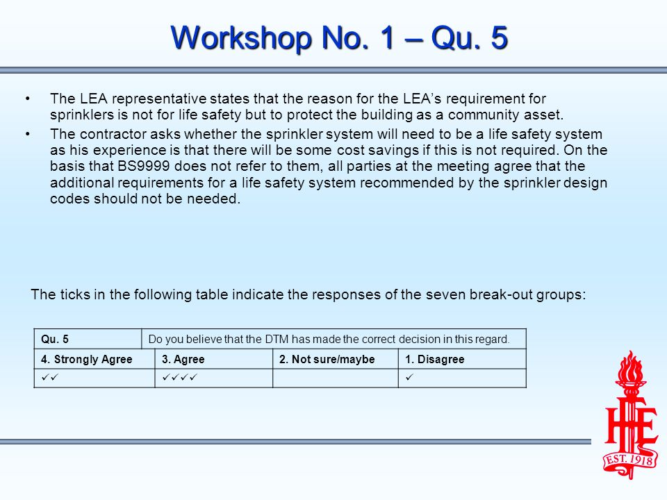 Workshop No. 1 – Qu. 5 The LEA representative states that the reason for the LEAs requirement for sprinklers is not for life safety but to protect the