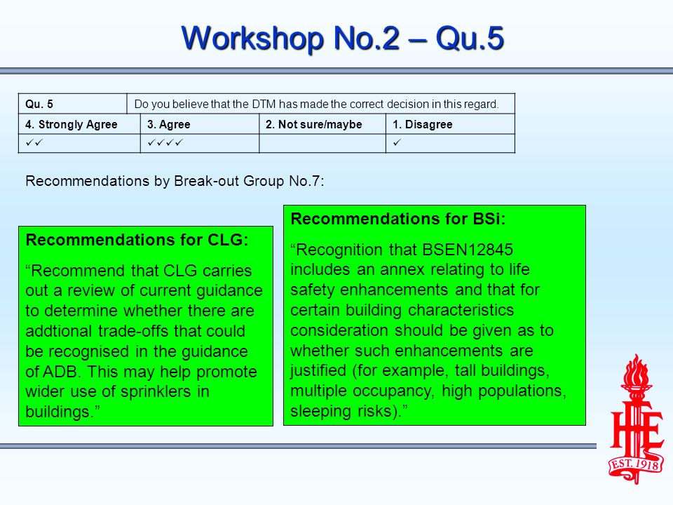Workshop No.2 – Qu.5 Recommendations for CLG: Recommend that CLG carries out a review of current guidance to determine whether there are addtional trade-offs that could be recognised in the guidance of ADB.