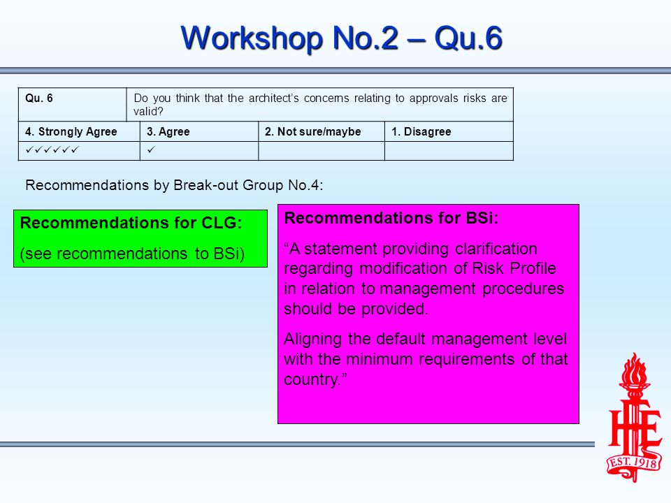 Workshop No.2 – Qu.6 Recommendations for CLG: (see recommendations to BSi) Recommendations for BSi: A statement providing clarification regarding modification of Risk Profile in relation to management procedures should be provided.
