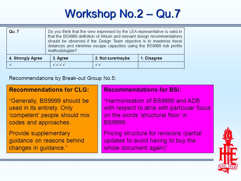 Workshop No.2 – Qu.7 Recommendations for CLG: Generally, BS9999 should be used in its entirety.
