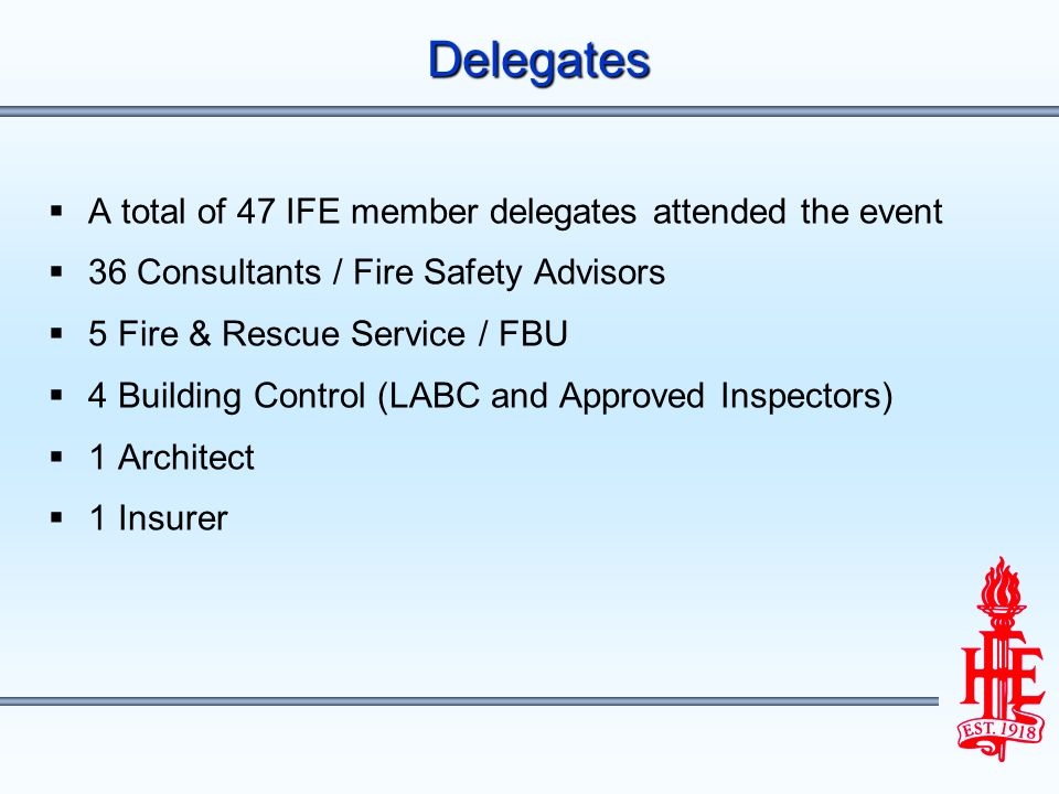 A total of 47 IFE member delegates attended the event 36 Consultants / Fire Safety Advisors 5 Fire & Rescue Service / FBU 4 Building Control (LABC and