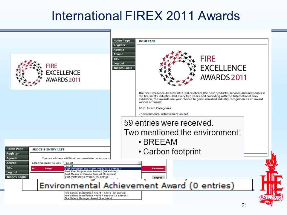 International FIREX 2011 Awards 21 59 entries were received.
