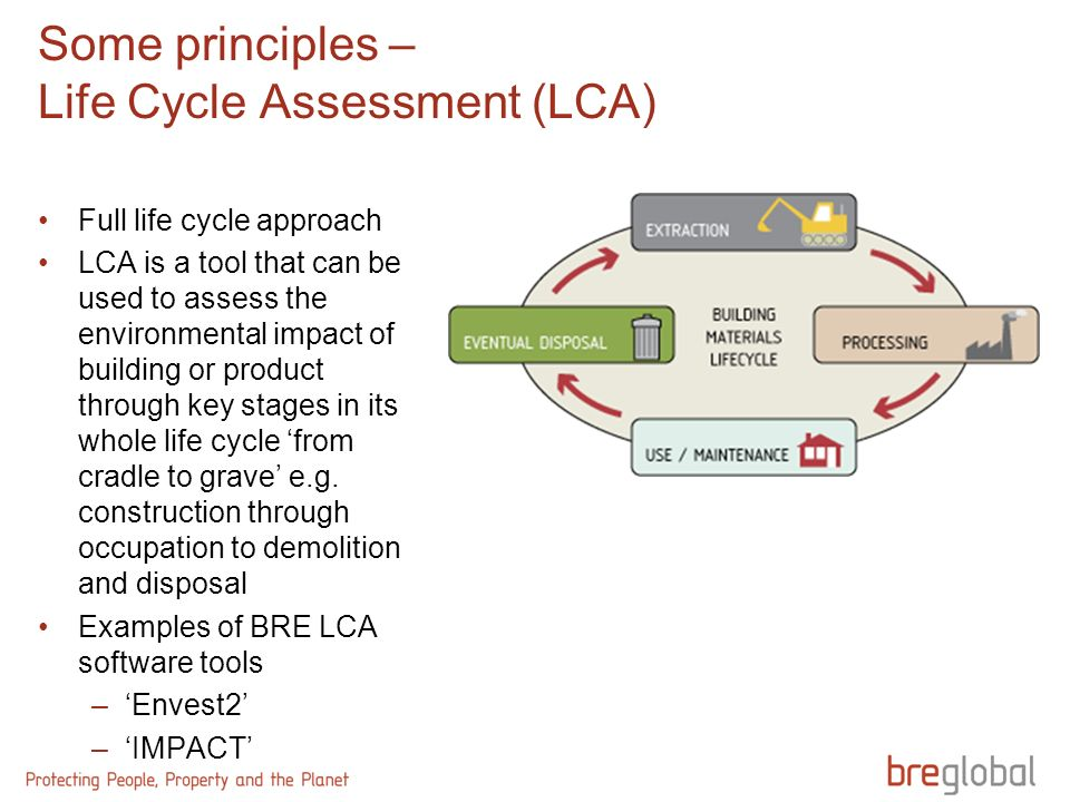 Some principles – Life Cycle Assessment (LCA) Full life cycle approach LCA is a tool that can be used to assess the environmental impact of building or product through key stages in its whole life cycle from cradle to grave e.g.