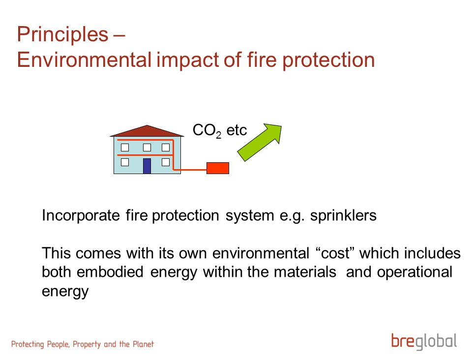 Principles – Environmental impact of fire protection CO 2 etc Incorporate fire protection system e.g.