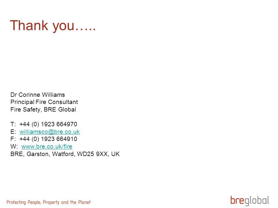 Thank you….. Dr Corinne Williams Principal Fire Consultant Fire Safety, BRE Global T: +44 (0) 1923 664970 E: williamsco@bre.co.ukwilliamsco@bre.co.uk