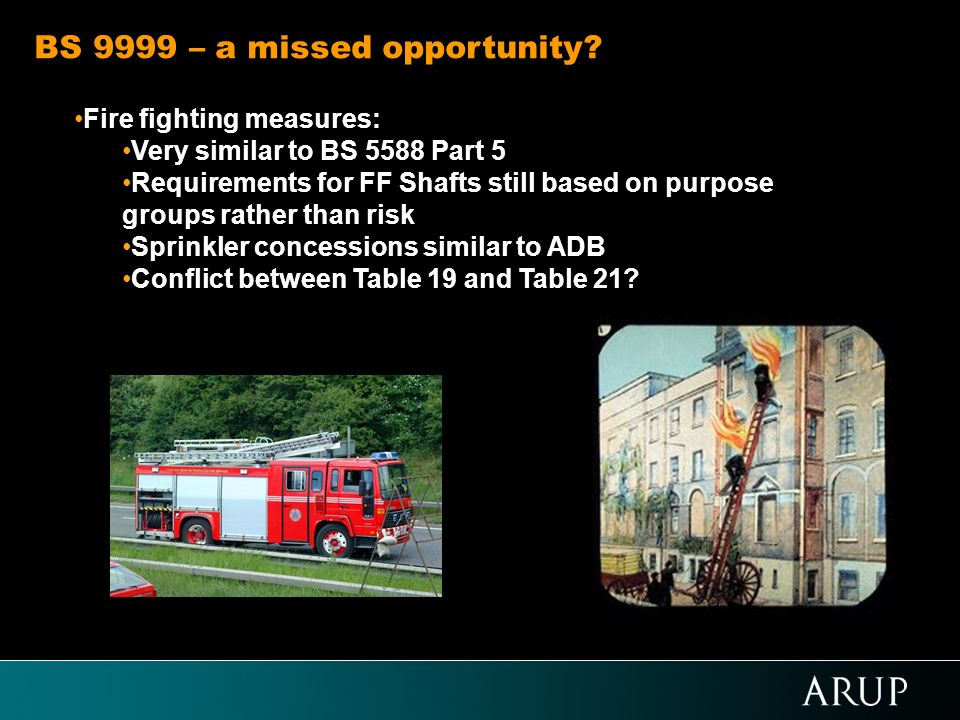 Fire fighting measures: Very similar to BS 5588 Part 5 Requirements for FF Shafts still based on purpose groups rather than risk Sprinkler concessions