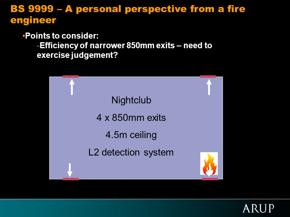 Points to consider: -Efficiency of narrower 850mm exits – need to exercise judgement? BS 9999 – A personal perspective from a fire engineer Nightclub