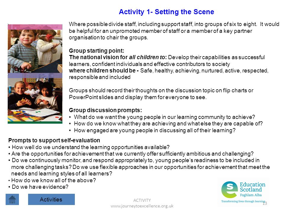ACTIVITY www.journeytoexcellence.org.uk 13 Activity 1- Setting the Scene Activities Where possible divide staff, including support staff, into groups of six to eight.
