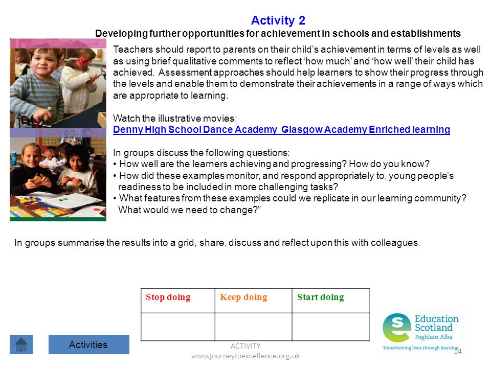 ACTIVITY www.journeytoexcellence.org.uk 14 Activity 2 Developing further opportunities for achievement in schools and establishments Teachers should report to parents on their childs achievement in terms of levels as well as using brief qualitative comments to reflect how much and how well their child has achieved.