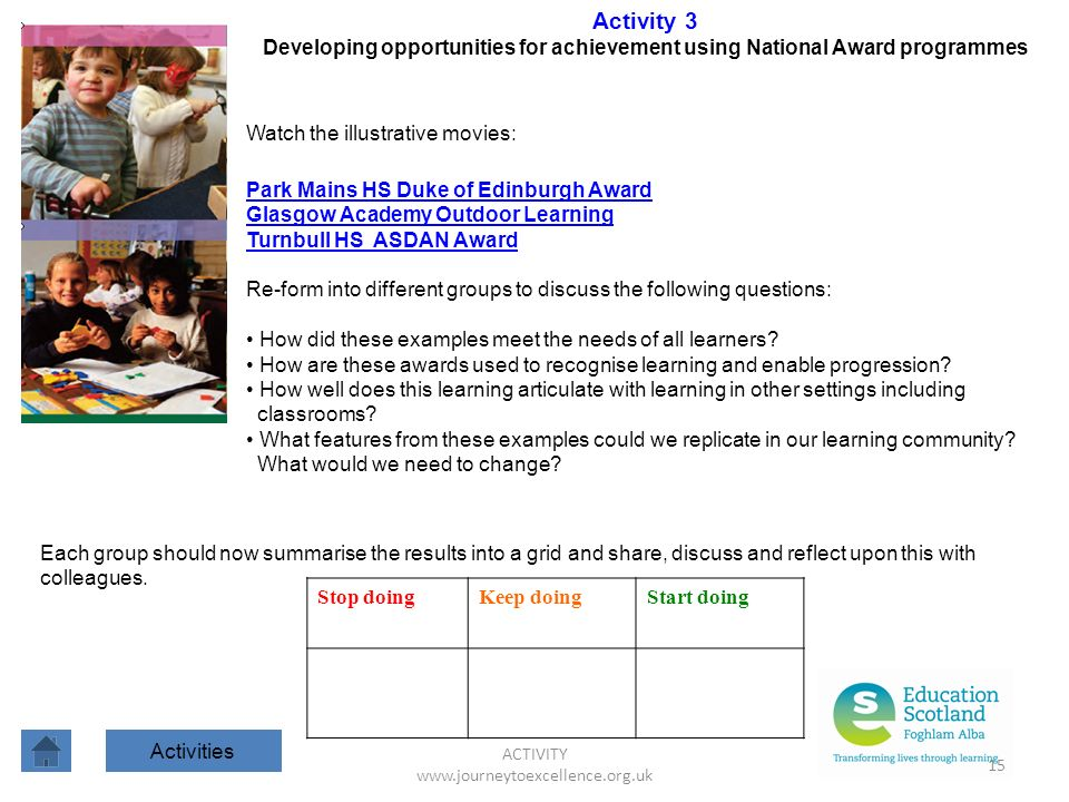 ACTIVITY www.journeytoexcellence.org.uk 15 Activity 3 Developing opportunities for achievement using National Award programmes Watch the illustrative