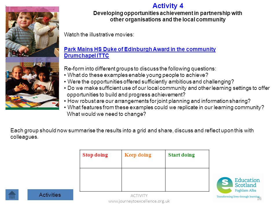 ACTIVITY www.journeytoexcellence.org.uk 16 Activity 4 Developing opportunities achievement in partnership with other organisations and the local commu