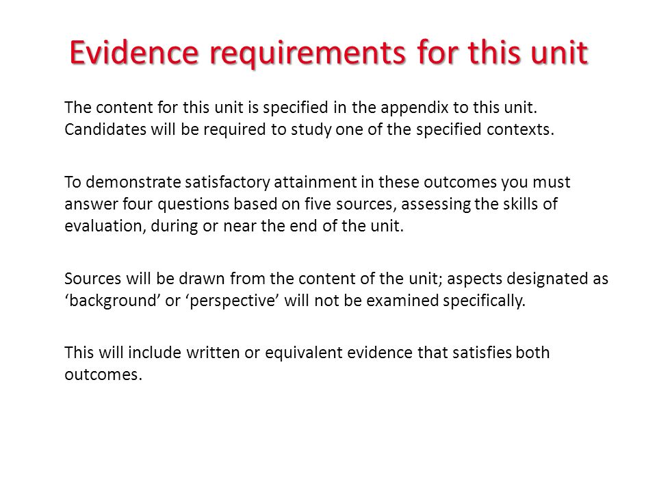 Evidence requirements for this unit The content for this unit is specified in the appendix to this unit.