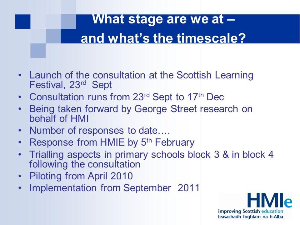 What stage are we at – and whats the timescale.