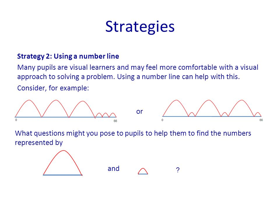 Strategy 2: Using a number line Many pupils are visual learners and may feel more comfortable with a visual approach to solving a problem. Using a num