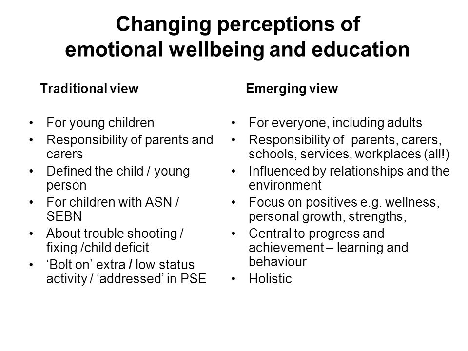 Changing perceptions of emotional wellbeing and education Traditional view For young children Responsibility of parents and carers Defined the child /