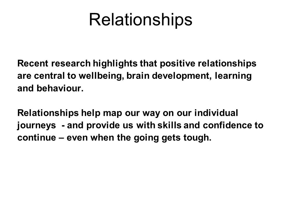 Relationships Recent research highlights that positive relationships are central to wellbeing, brain development, learning and behaviour. Relationship