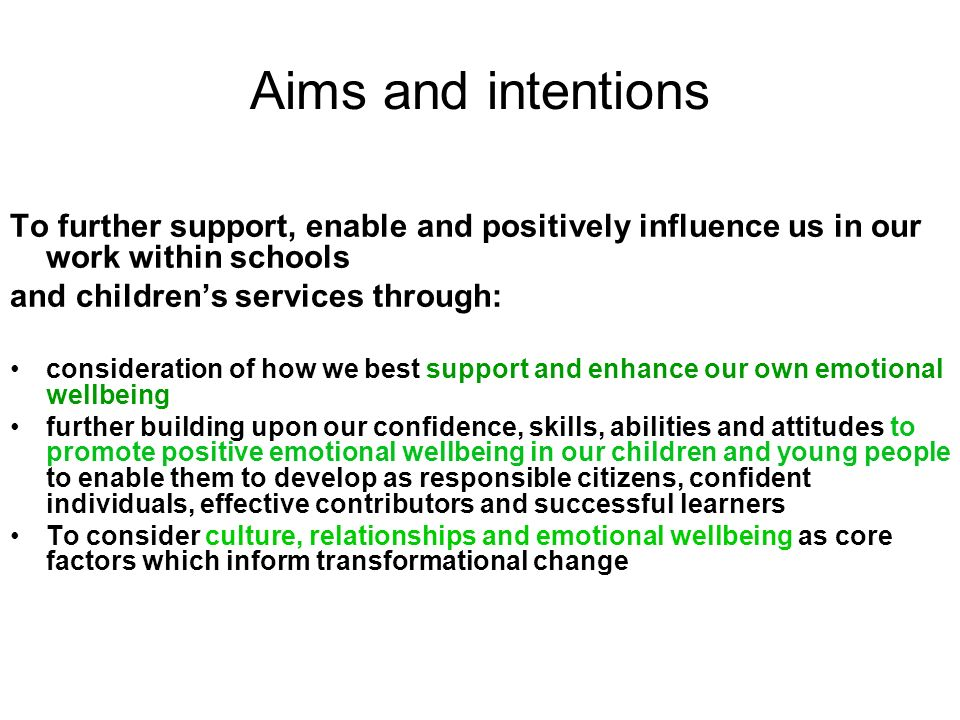 Aims and intentions To further support, enable and positively influence us in our work within schools and childrens services through: consideration of