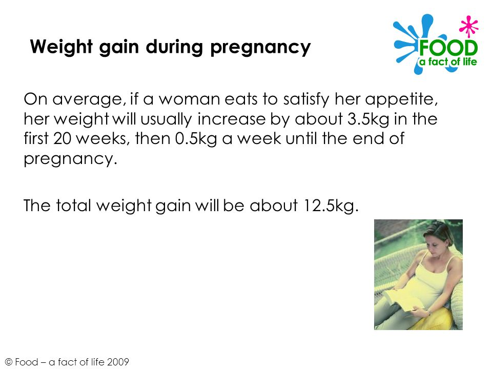 © Food – a fact of life 2009 Weight gain during pregnancy On average, if a woman eats to satisfy her appetite, her weight will usually increase by abo