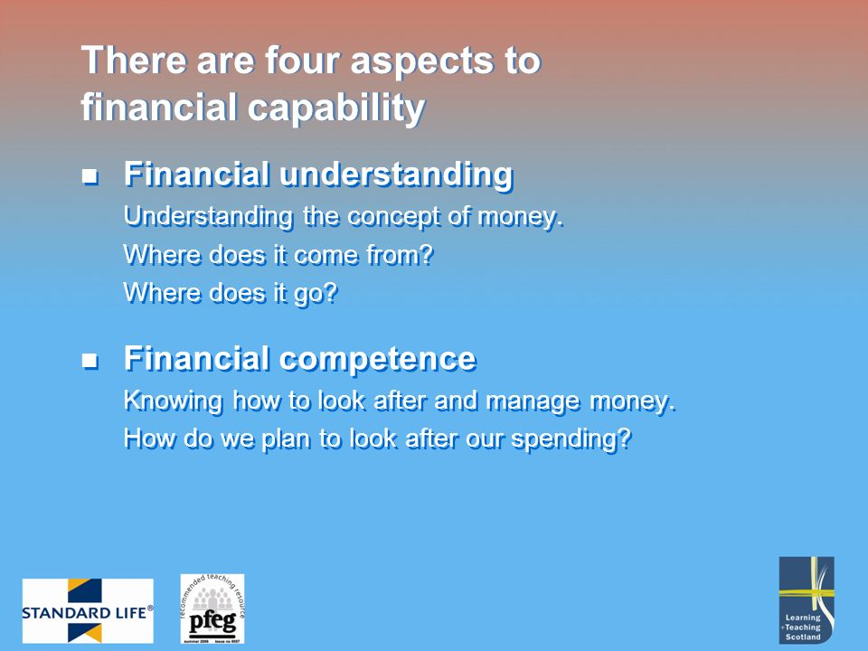 Financial understanding Understanding the concept of money.