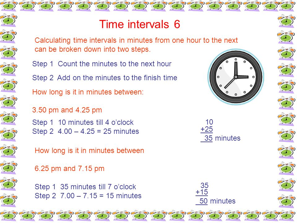 Time intervals 6 Calculating time intervals in minutes from one hour to the next can be broken down into two steps. Step 1 Count the minutes to the ne