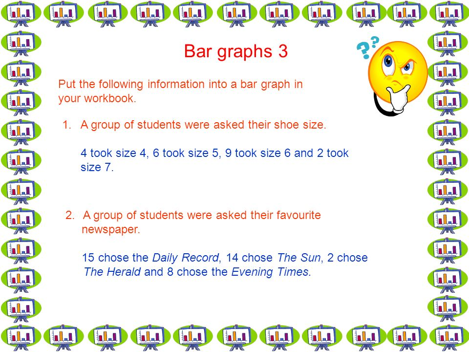 Bar graphs 3 Put the following information into a bar graph in your workbook.