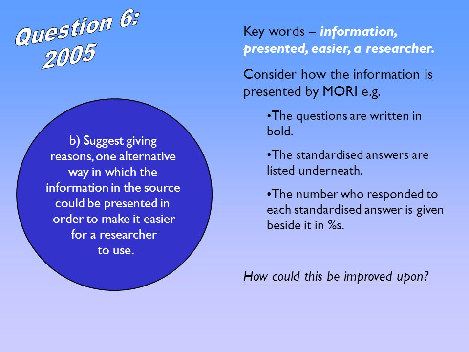 b) Suggest giving reasons, one alternative way in which the information in the source could be presented in order to make it easier for a researcher t