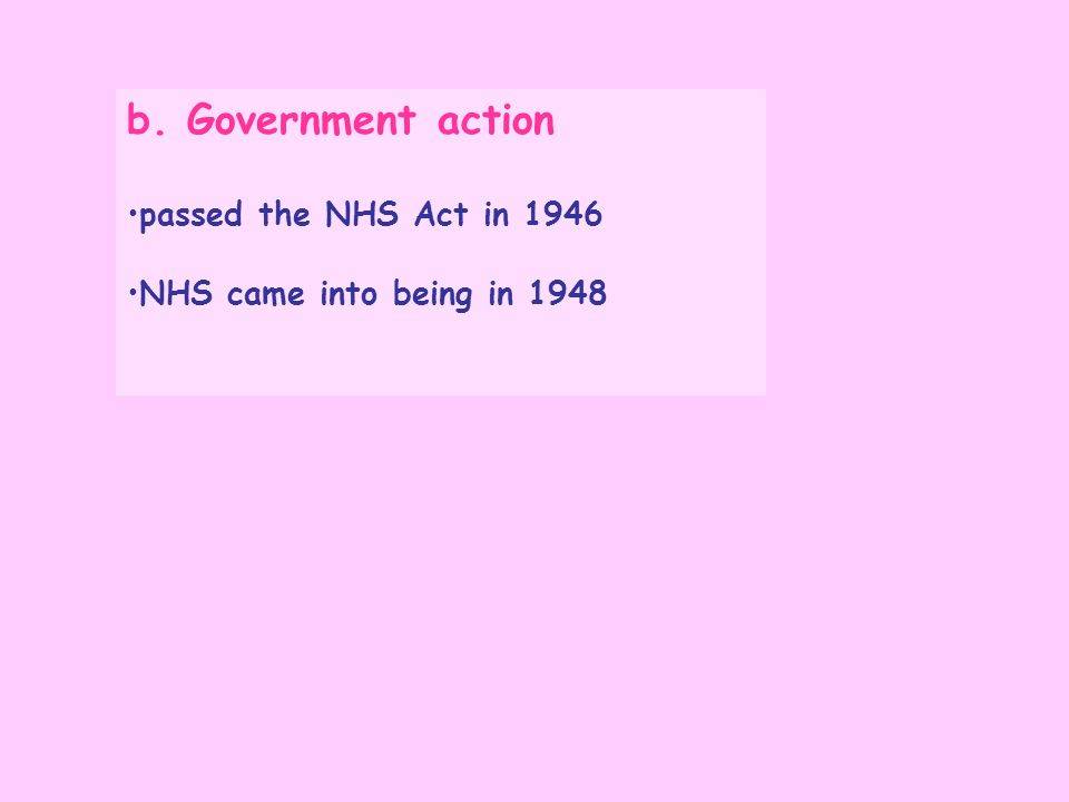 b. Government action passed the NHS Act in 1946 NHS came into being in 1948