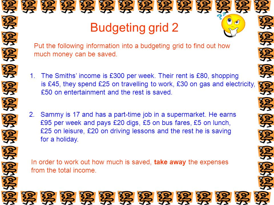 Budgeting grid 2 Put the following information into a budgeting grid to find out how much money can be saved. 1. The Smiths income is £300 per week. T
