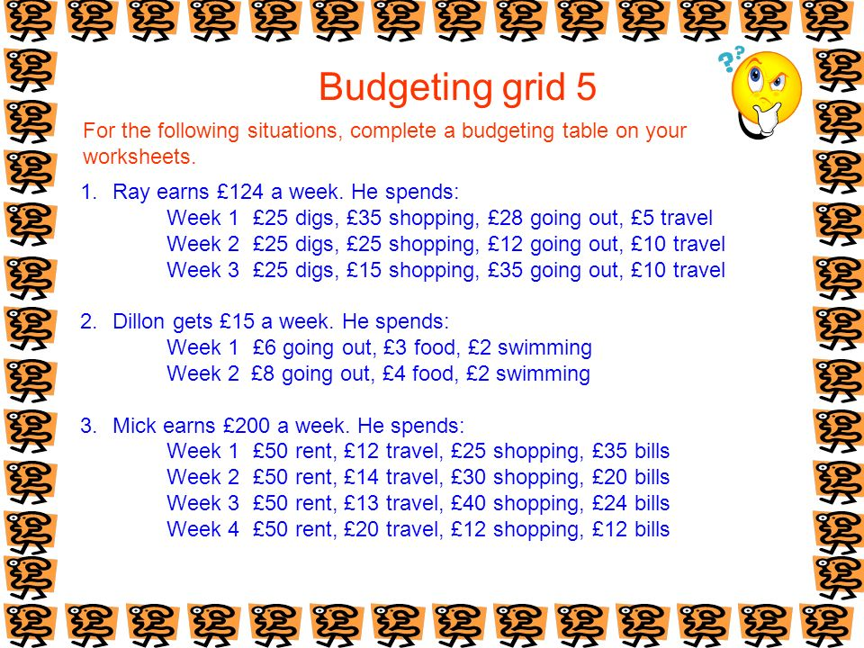 Budgeting grid 5 For the following situations, complete a budgeting table on your worksheets. 1.Ray earns £124 a week. He spends: Week 1£25 digs, £35