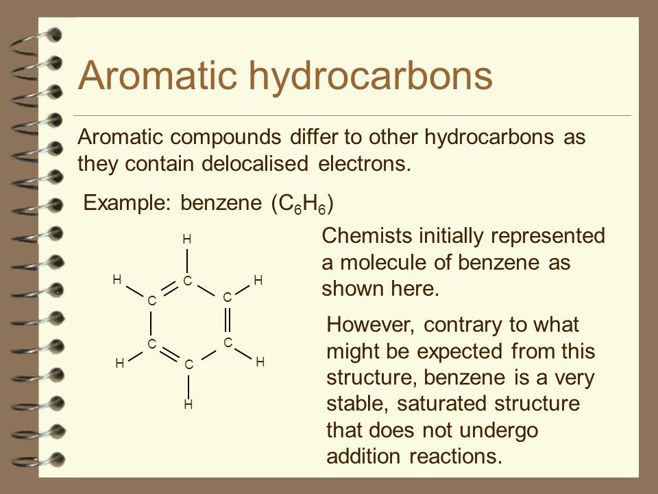 Aromatic compounds differ to other hydrocarbons as they contain delocalised electrons. Aromatic hydrocarbons Example: benzene (C 6 H 6 ) Chemists init