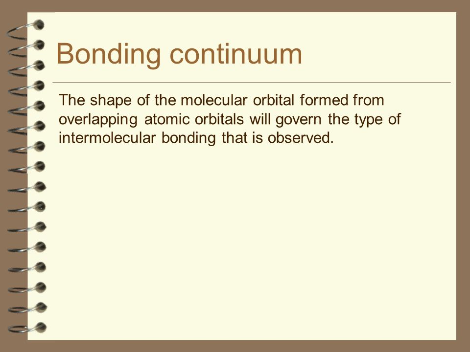 Bonding continuum The shape of the molecular orbital formed from overlapping atomic orbitals will govern the type of intermolecular bonding that is ob