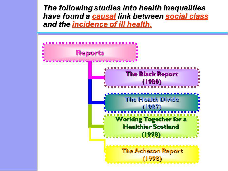 Reports The Black Report (1980) The Health Divide (1987) Working Together for a Healthier Scotland (1998) The Acheson Report (1998) The following studies into health inequalities have found a causal link between social class and the incidence of ill health.