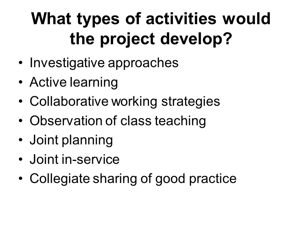 What types of activities would the project develop.