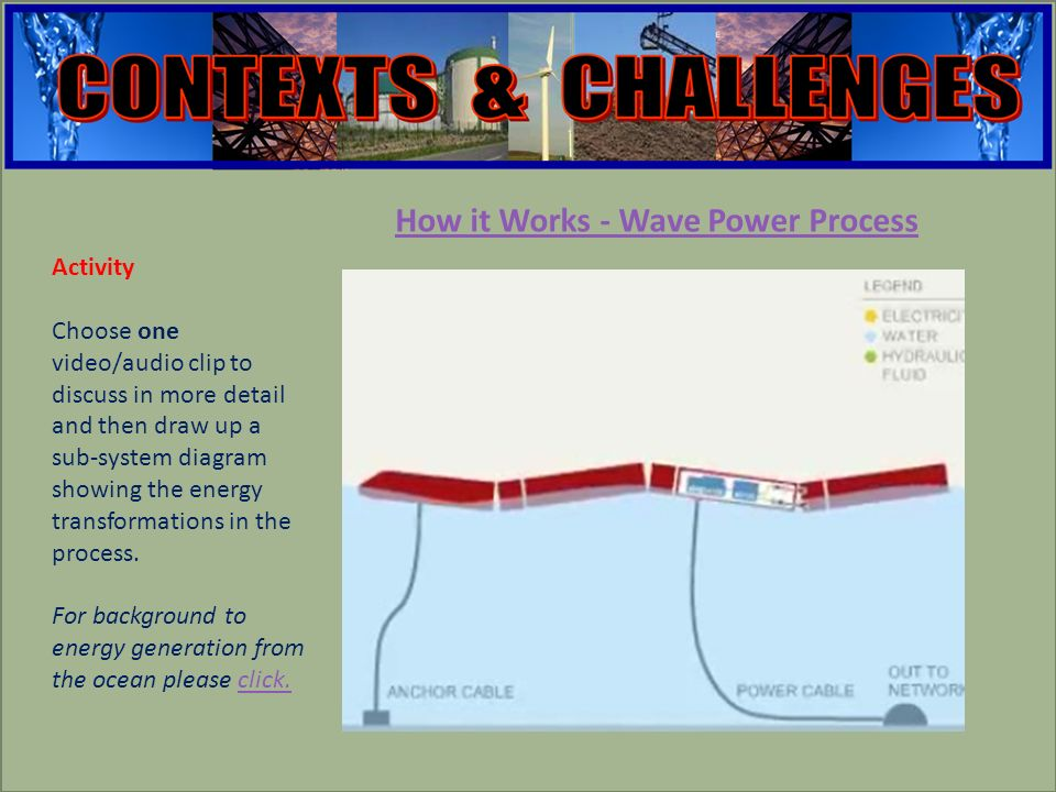 engineering How it Works - Wave Power Process Activity Choose one video/audio clip to discuss in more detail and then draw up a sub-system diagram showing the energy transformations in the process.