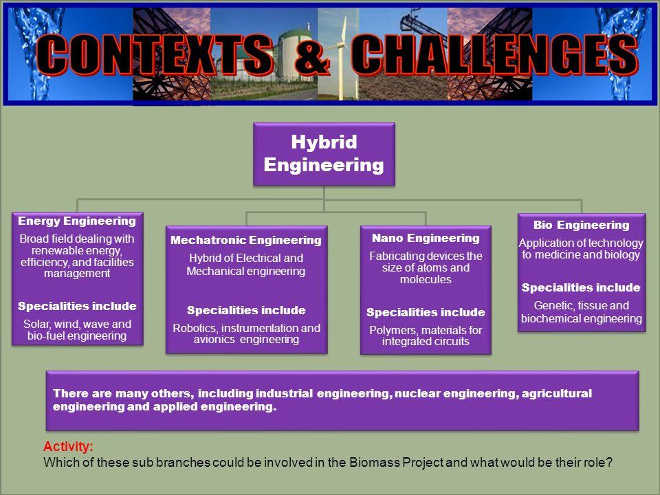 engineering Hybrid Engineering Energy Engineering Broad field dealing with renewable energy, efficiency, and facilities management Specialities includ