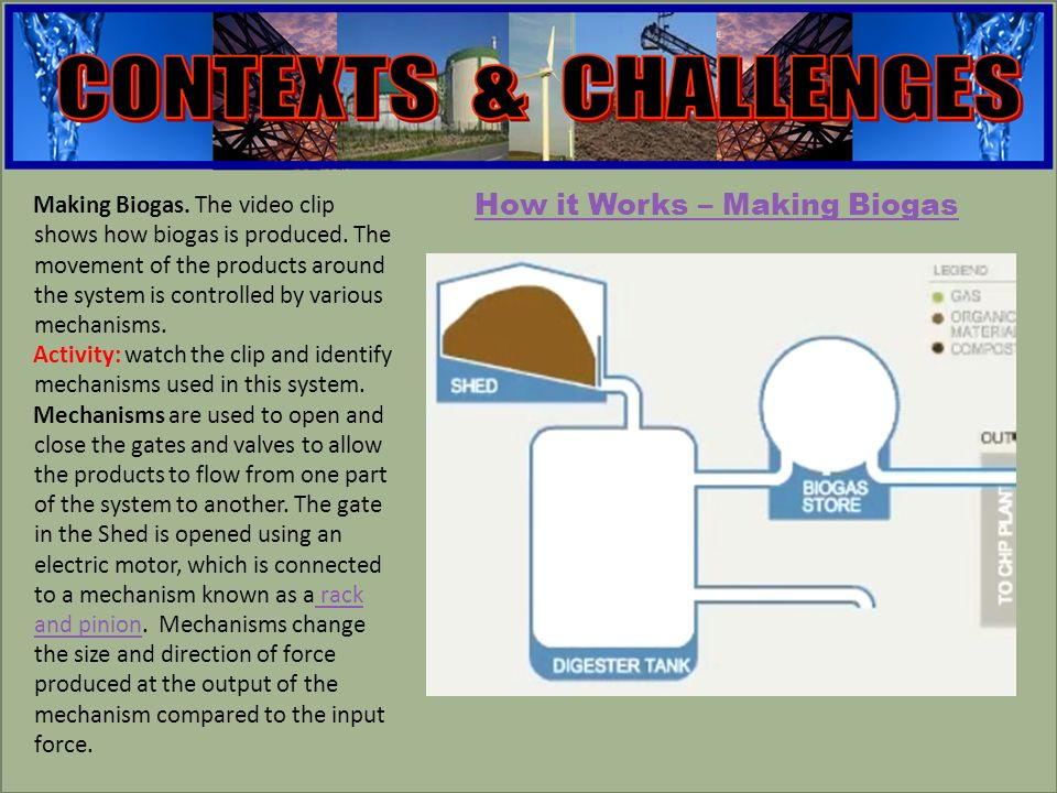 engineering Making Biogas. The video clip shows how biogas is produced.