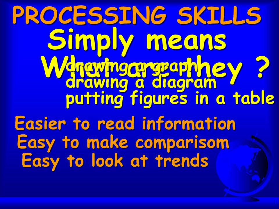 Simply means PROCESSING SKILLS What are they .