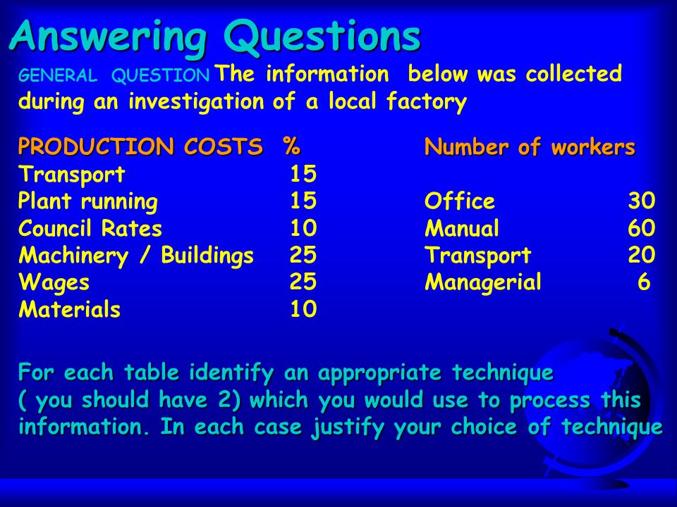 Answering Questions GENERAL QUESTION The information below was collected during an investigation of a local factory PRODUCTION COSTS %Number of workers Transport15 Plant running15Office30 Council Rates10Manual60 Machinery / Buildings25Transport 20 Wages25Managerial 6 Materials10 For each table identify an appropriate technique ( you should have 2) which you would use to process this information.