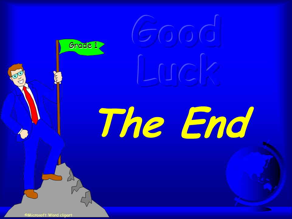 The End Grade 1 ©Microsoft Word clipart