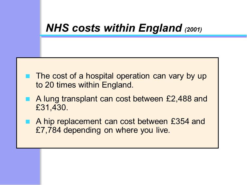 NHS costs within England (2001) n The cost of a hospital operation can vary by up to 20 times within England. n A lung transplant can cost between £2,