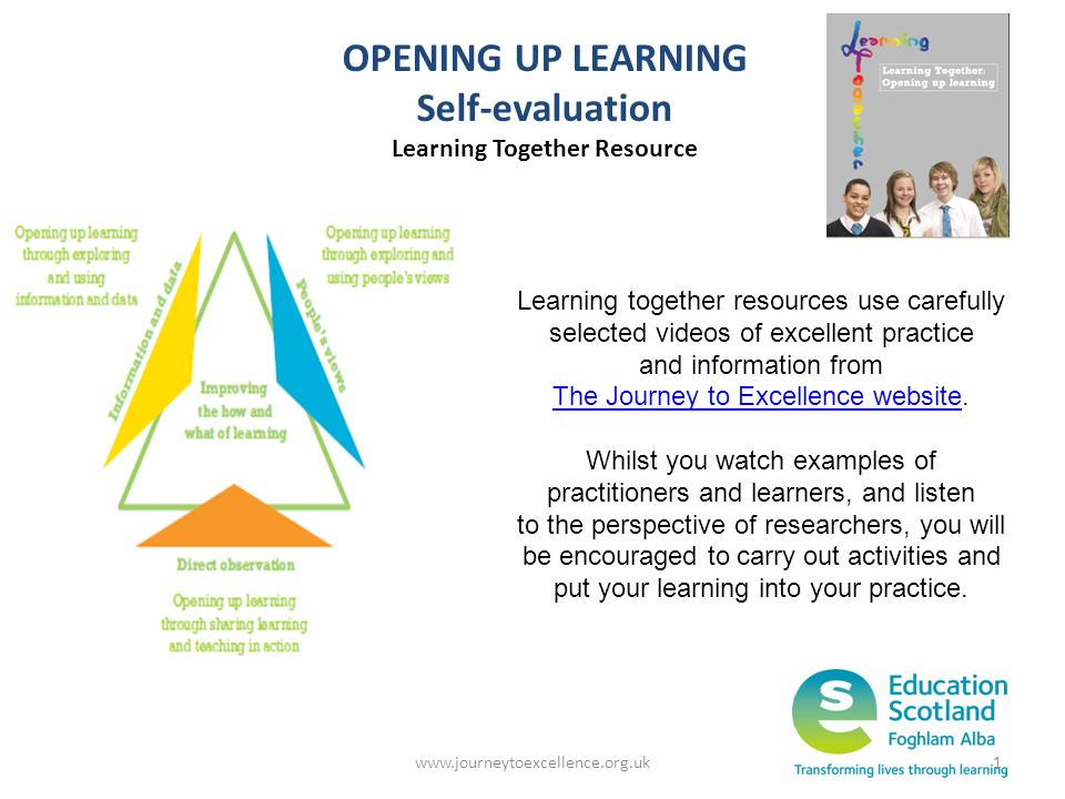 www.journeytoexcellence.org.uk1 OPENING UP LEARNING Self-evaluation Learning Together Resource Learning together resources use carefully selected vide
