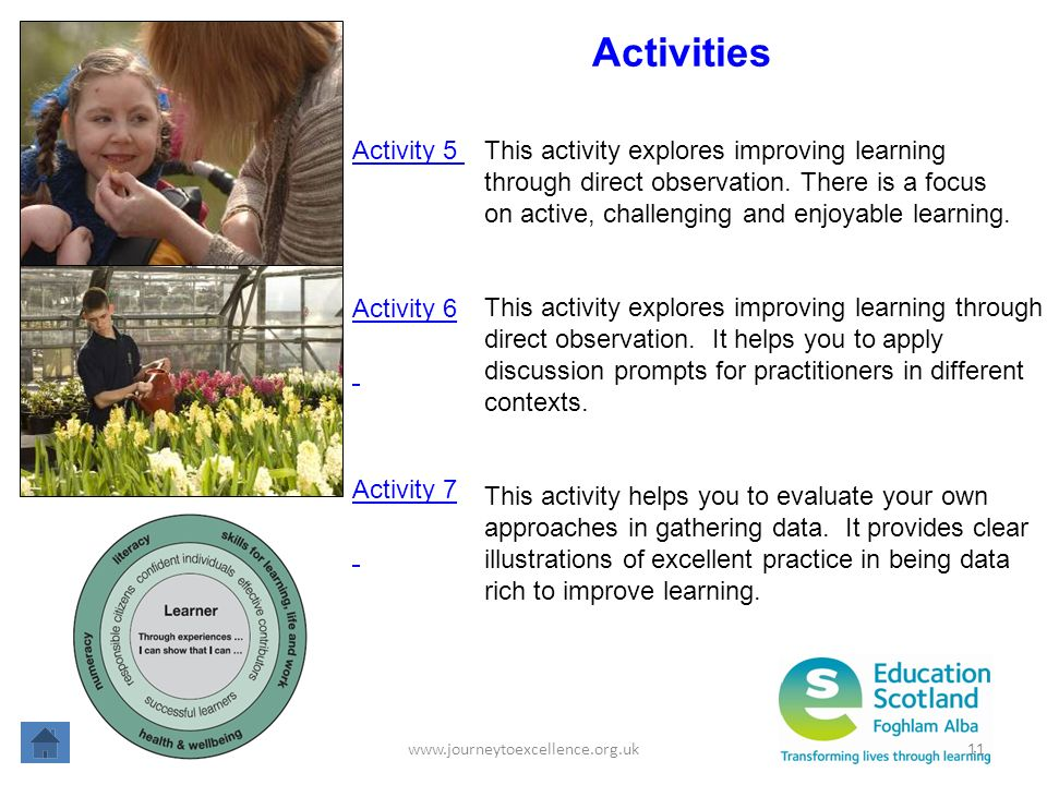 www.journeytoexcellence.org.uk11 Activities Activity 6 This activity explores improving learning through direct observation. It helps you to apply dis