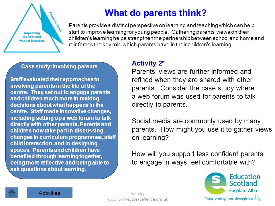 Activity www.journeytoexcellence.org.uk 14 What do parents think? Parents provide a distinct perspective on learning and teaching which can help staff
