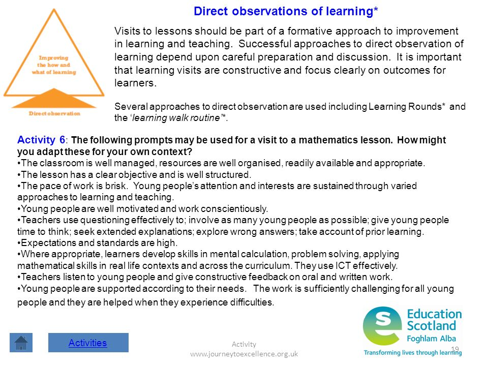 Activity www.journeytoexcellence.org.uk 19 Direct observations of learning* Visits to lessons should be part of a formative approach to improvement in