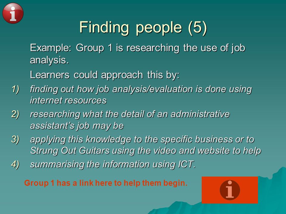 Finding people (5) Example: Group 1 is researching the use of job analysis. Example: Group 1 is researching the use of job analysis. Learners could ap