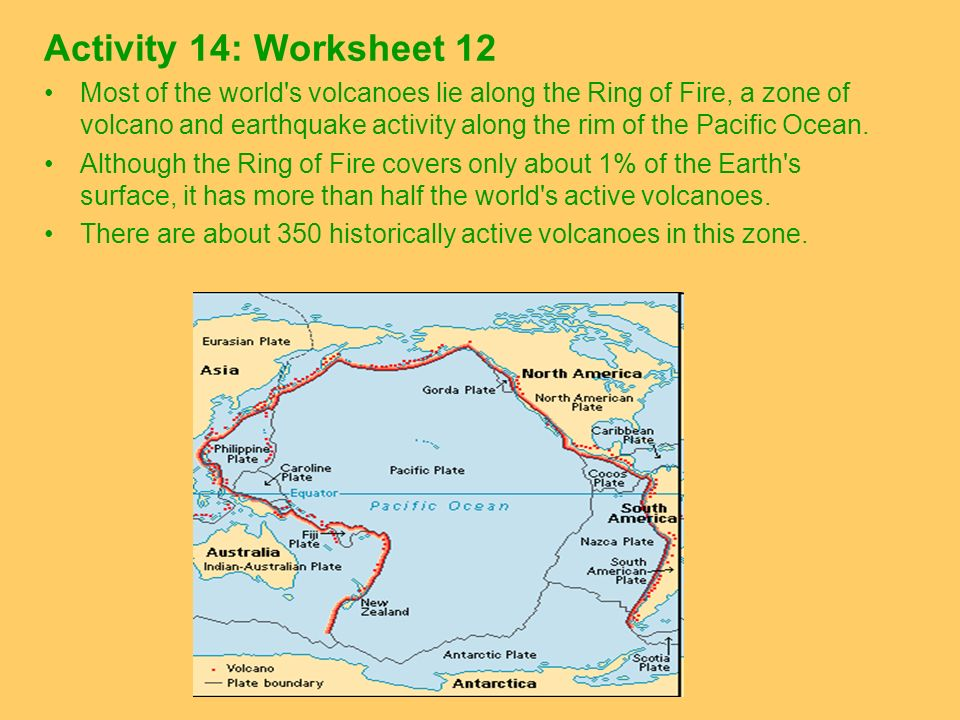 Activity 14: Worksheet 12 Most of the world's volcanoes lie along the Ring of Fire, a zone of volcano and earthquake activity along the rim of the Pac