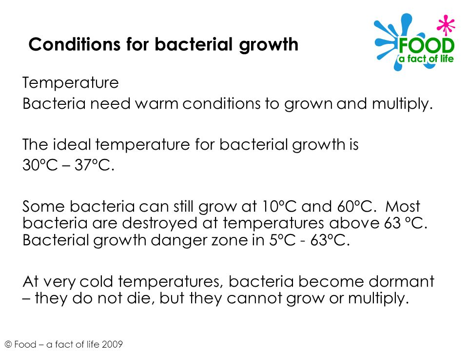 © Food – a fact of life 2009 Conditions for bacterial growth Temperature Bacteria need warm conditions to grown and multiply. The ideal temperature fo