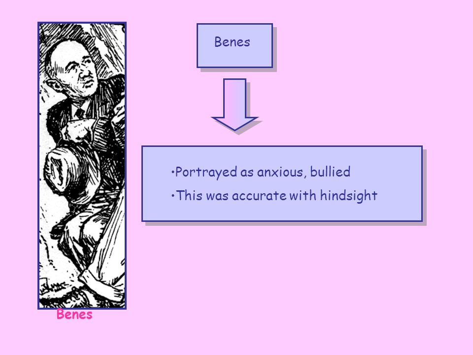 Benes Portrayed as anxious, bullied This was accurate with hindsight